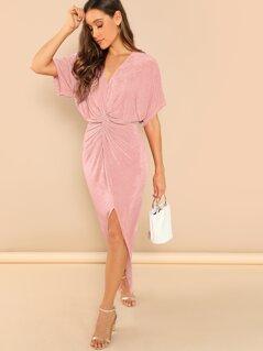 Batwing Sleeve Twist Detail Slit Dress