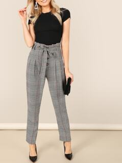 Paperbag Waist Self Belted Plaid Pants