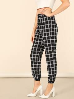 Drawstring Waist Plaid Tapered Pants