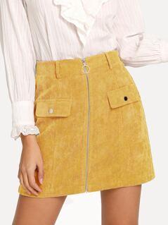 Exposed O-Ring Zipper Up Cord Skirt