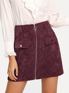 Zip Up Cord Bodycon Skirt