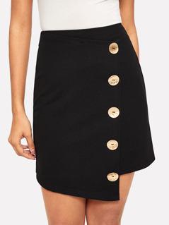 Asymmetrical Hem Button Up Zip Back Skirt