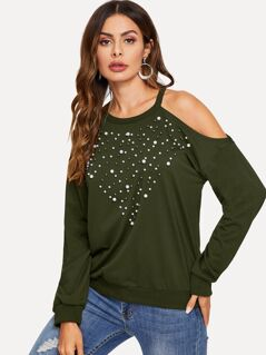 Pearl Beaded Cold Shoulder Pullover