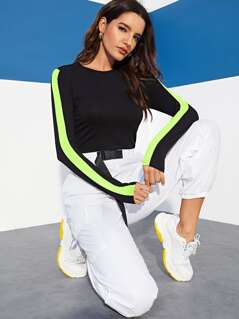 Contrast Neon Tape Fitted Tee