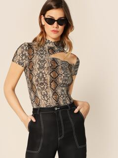 Mock-neck Cutout Snakeskin Fitted Tee