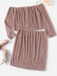 Plus Button Up Off Shoulder Fuzzy Top & Skirt Set