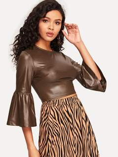 Bell Sleeve Leather Look Crop Top