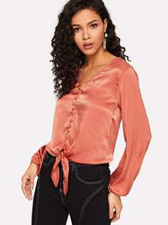 Button Embellished Knot Front V Neck Satin Top