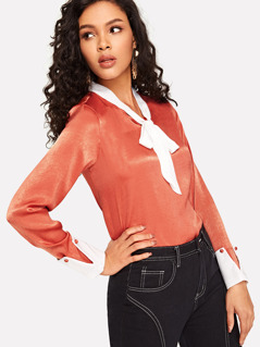 Tie Neck Contrast Cuff Satin Blouse