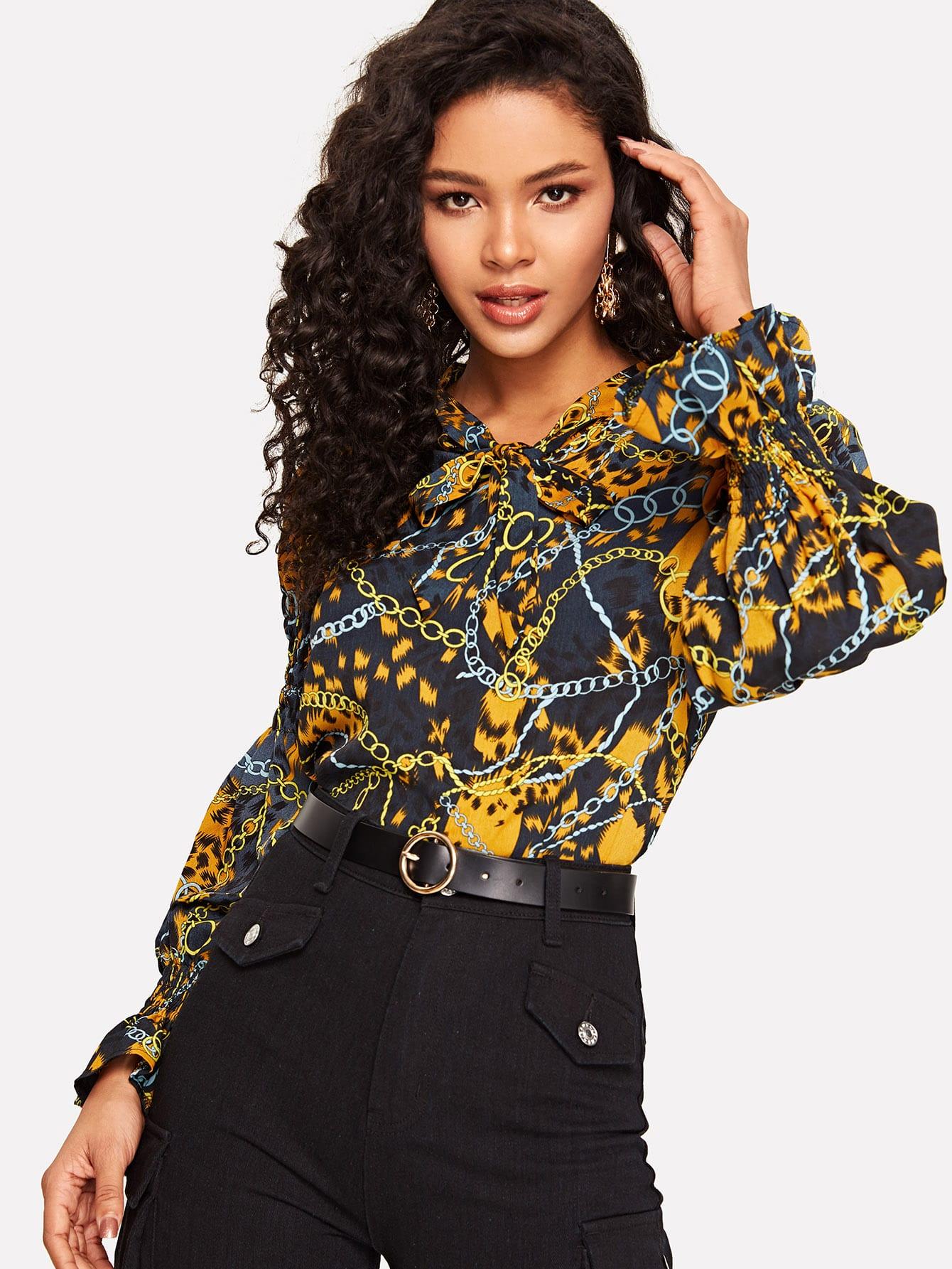 Купить Блуза с завязкой на шее оригинальным рукавом и графическим принтом, Maiara, SheIn