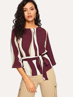 Self Belted Color Block Blouse
