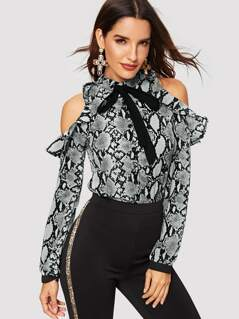 Tie Neck Ruffle Cold Shoulder Snakeskin Blouse