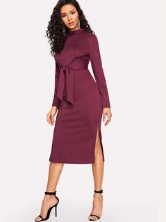 M-slit Hem Zip Back Knotted Slim Fitted Dress