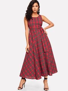 Knot Waist Fit & Flare Plaid Dress