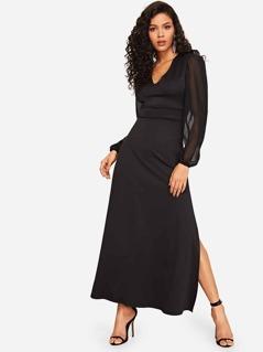 Sheer Bishop Sleeve Split Dress