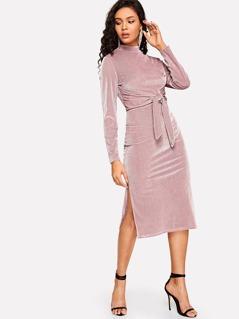 Mock-neck M-slit Hem Knotted Velvet Bodycon Dress