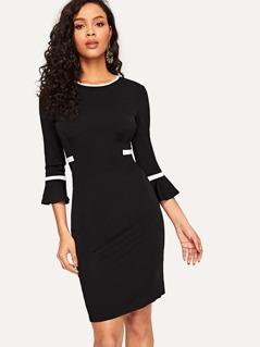 Zip Back Striped Flounce Sleeve Bodycon Dress