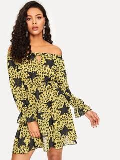 Off Shoulder Cut Out Front Star & Leopard Dress
