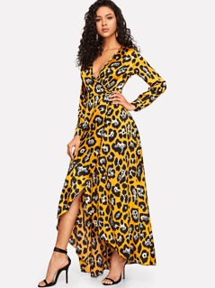 Deep V-neck Leopard Wrap Asymmetrical Dress