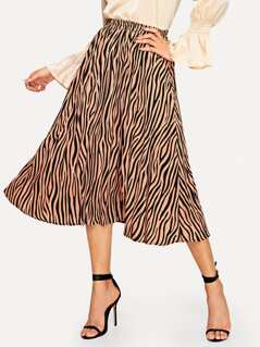Zebra Pattern Flare Skirt