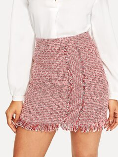 Frayed Trim Bodycon Tweed Skirt