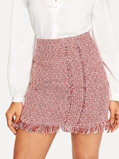 Frayed Trim Bodycon Tweed Skirt