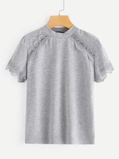 Mock-neck Lace Trim Heathered Gray Tee