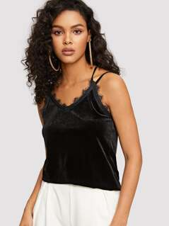 Criss Cross Back Lace Trim Velvet Cami Top