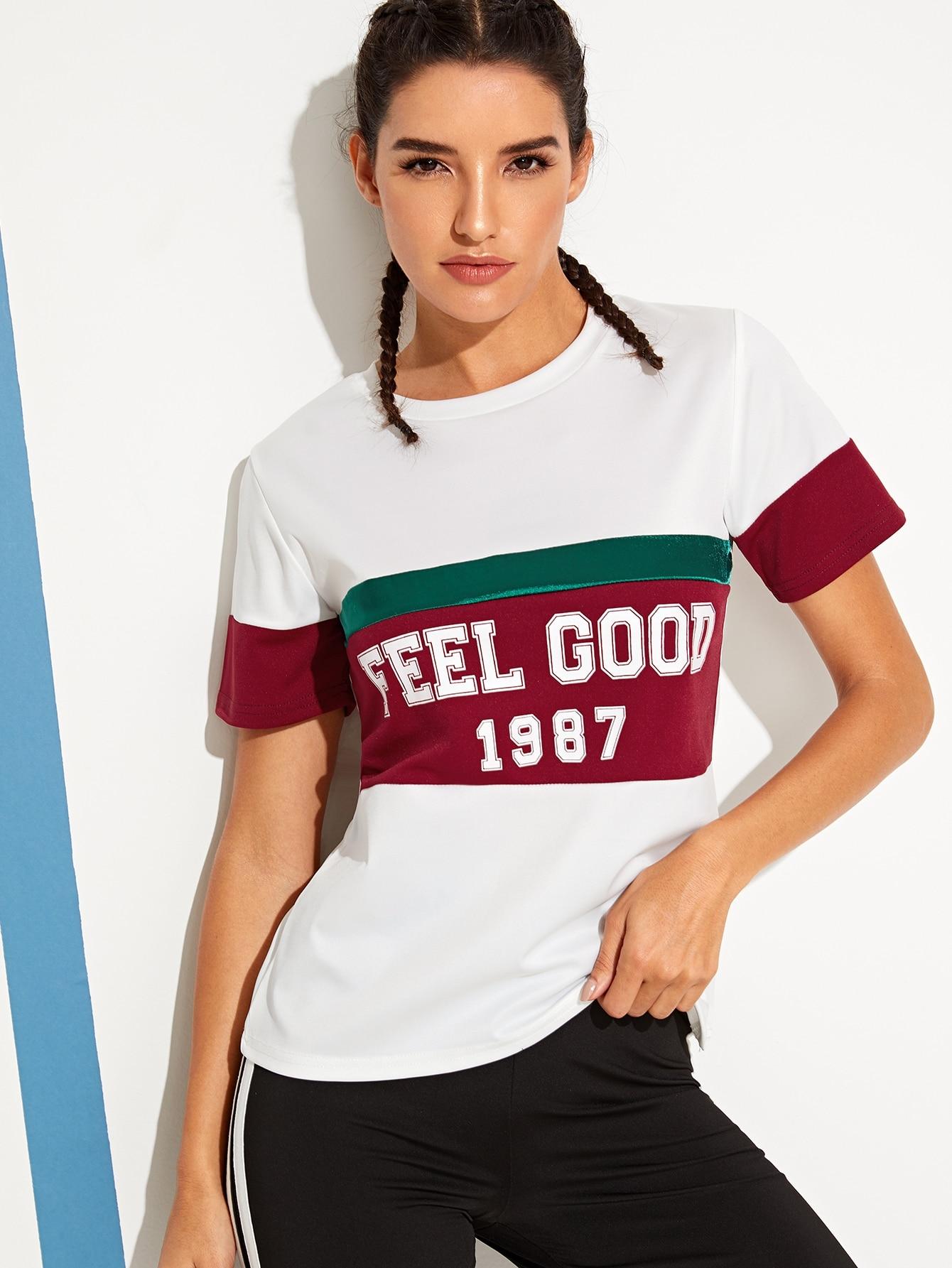 Купить Контрастная плоская футболка с текстовым принтом, Juliana, SheIn