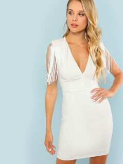 Plunging Neck Tassel Sleeve Fitted Dress