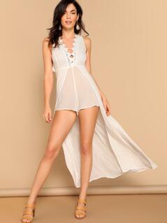Lace Trimmed V-Neck Skirt Wrap Romper