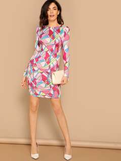 Shirred Side Jersey Knit Kaleidoscope Dress
