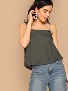 Square Neck Adjustable Shoulder Strap Cami Top