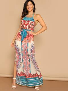 Mosaic Print Waist Tie Side Slit Halter Maxi Dress