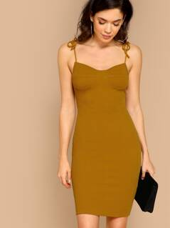Adjustable Strap Rib Knit Open Back Mini Dress