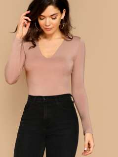 V-Neck Double Layer Jersey Knit Long Sleeve Tee