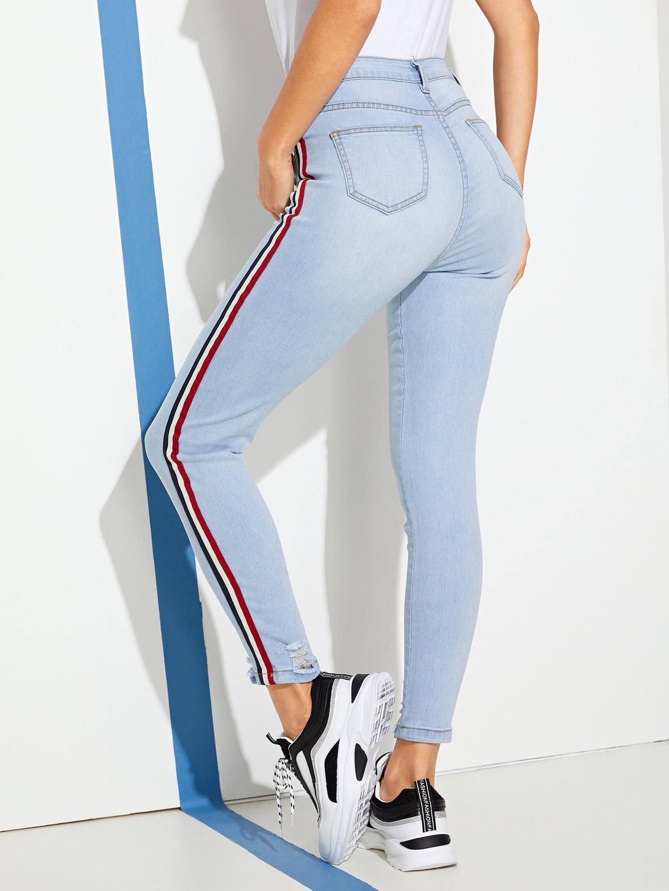 Купить Рваные обтягивающие джинсы с полосками, Juliana, SheIn