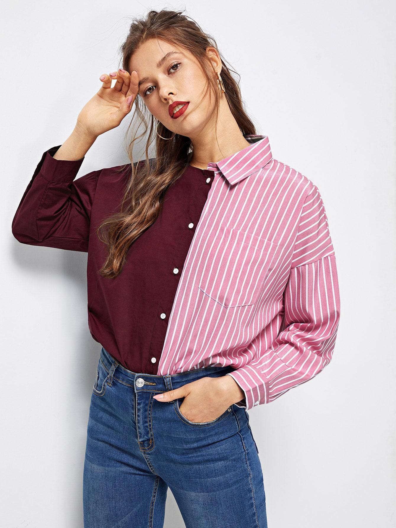 Купить Полосатая рубашка с асимметричным воротником, Gabi D, SheIn