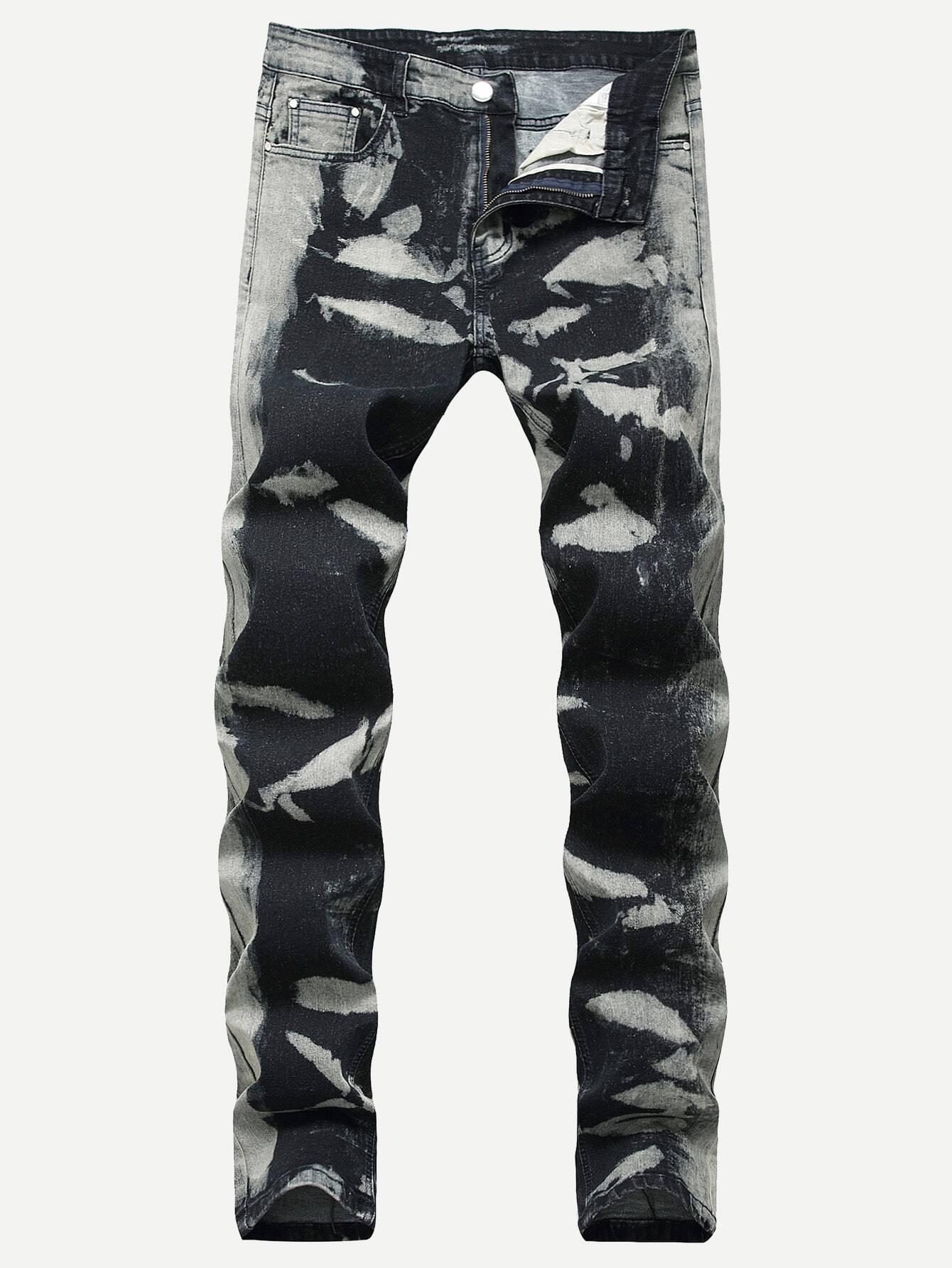 Купить Мужские разноцветные выбеленные джинсы, null, SheIn