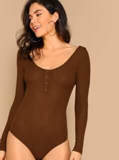 Snap Button Neck Waffle Knit Bodysuit