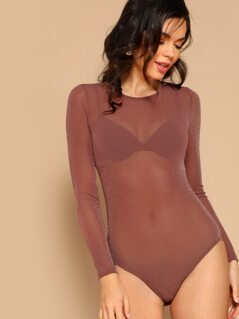Form Fitted Glitter Sheer Bodysuit Without Bra
