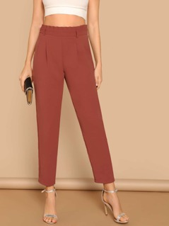 Paperbag Waist Solid Tapered Pants