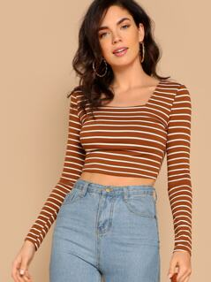 Square Neck Striped Fitted Crop Tee
