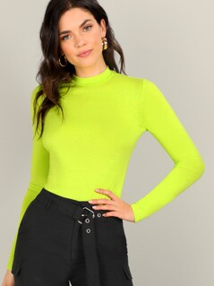 Neon Lime Mock-neck Slim Fitted Tee