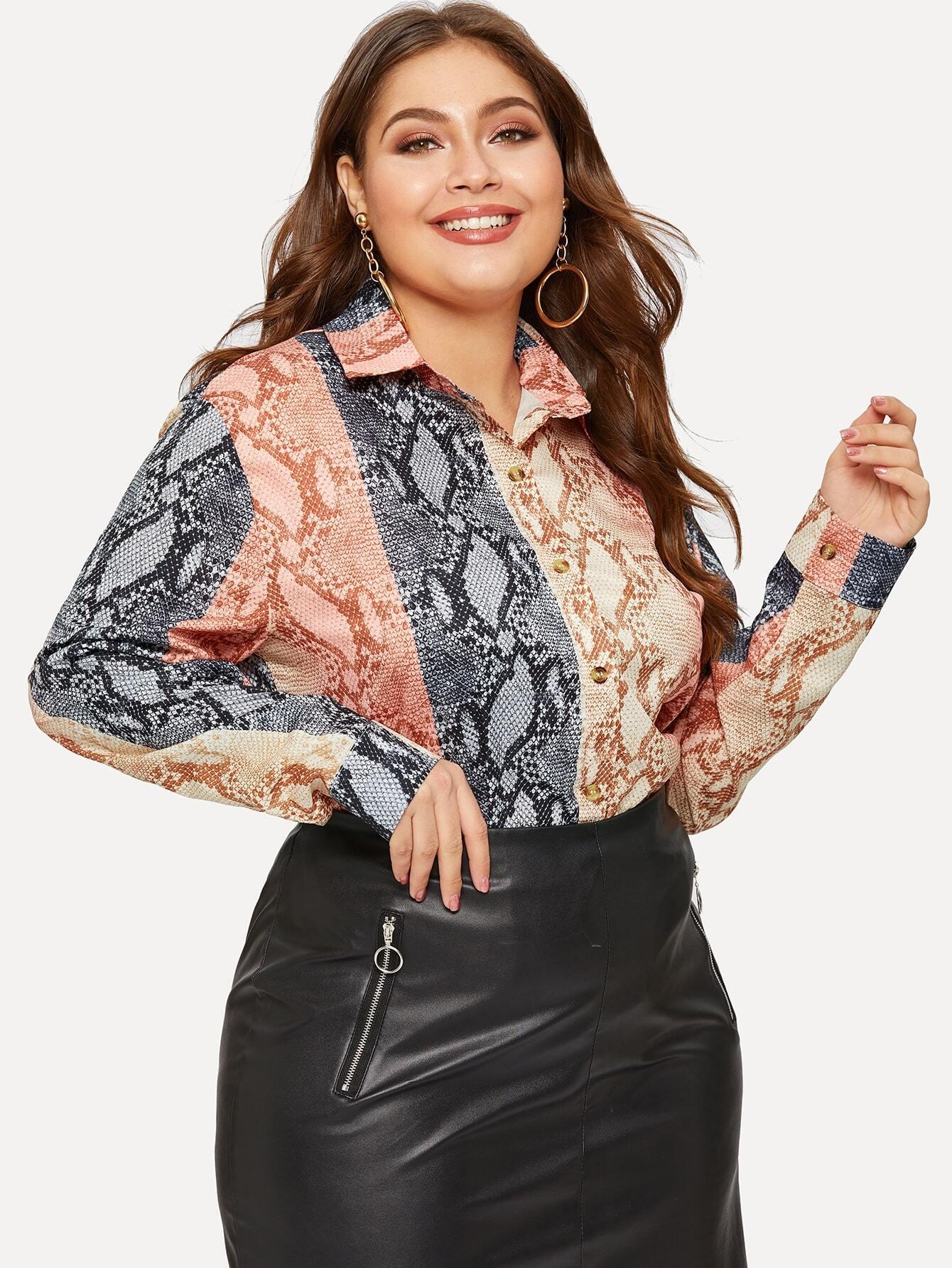 Купить Размера плюс контрастная плоская блуза с змеиным принтом, Carol, SheIn