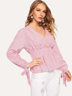 Button Front Knotted Cuff Plaid Peplum Blouse