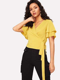 Layered Sleeve Wrap Top