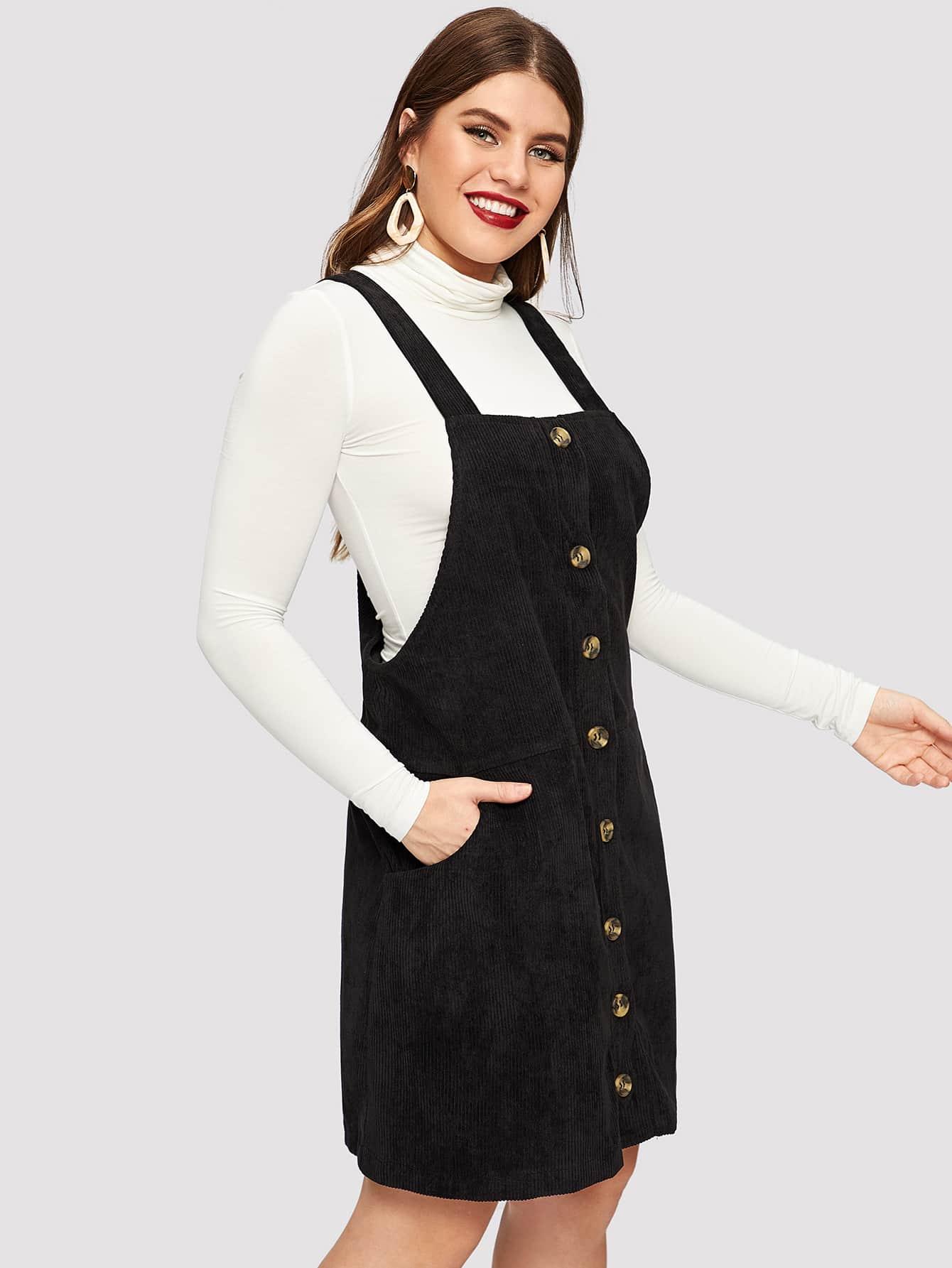 Купить Размер плюс платье с пуговицами и кулиской, Isabela, SheIn