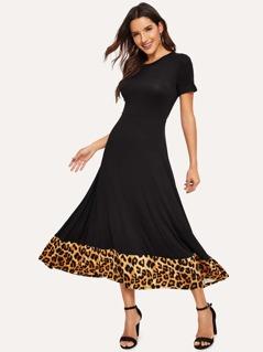 Leopard Hem Fit & Flare Dress