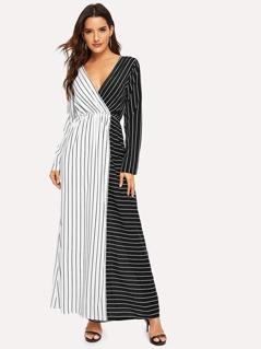 Deep V-neck Two Tone Striped Wrap Dress
